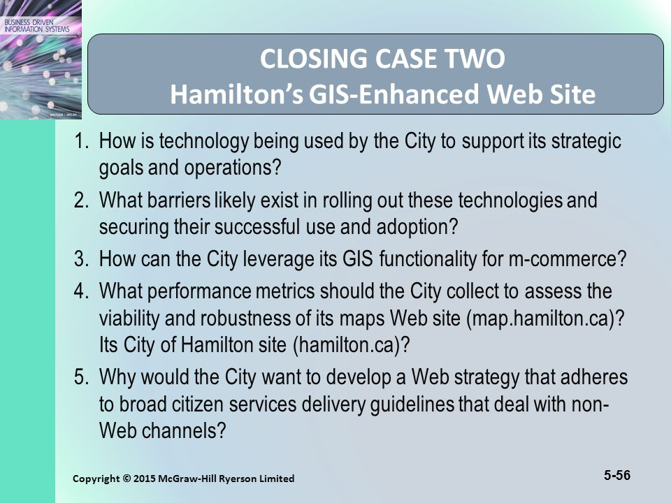 CLOSING CASE TWO Hamilton's GIS-Enhanced Web Site