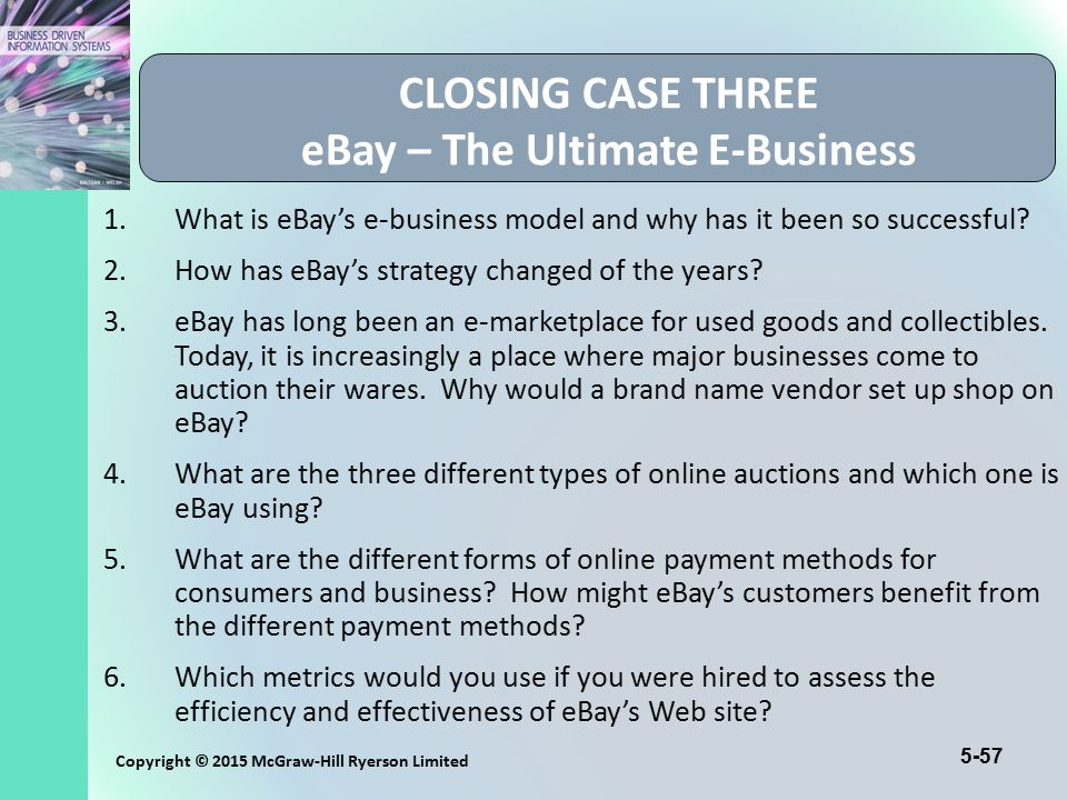CLOSING CASE THREE eBay – The Ultimate E-Business