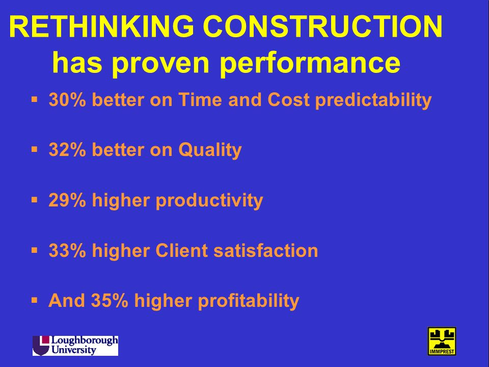 RETHINKING CONSTRUCTION has proven performance