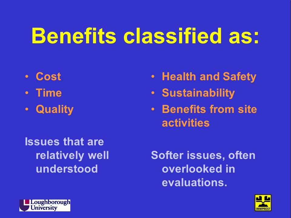 Benefits classified as: