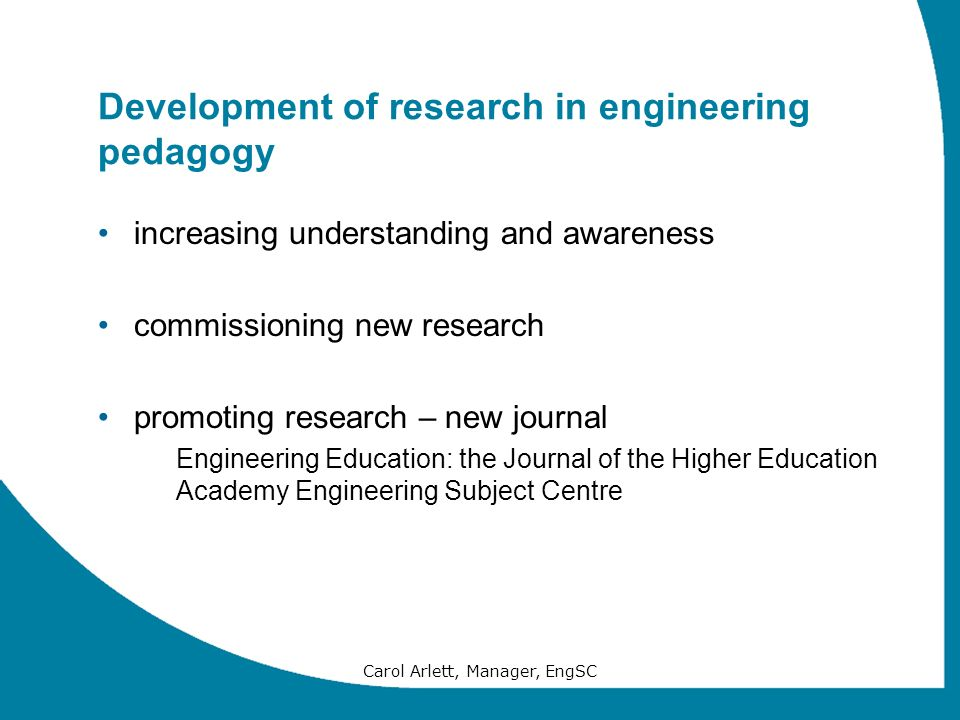 Development of research in engineering pedagogy