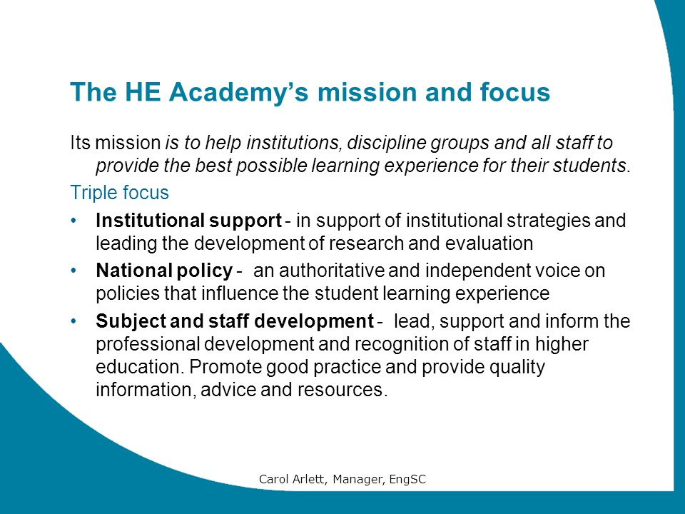 The HE Academy's mission and focus