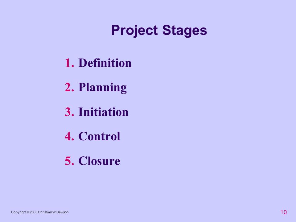 Project Stages Definition Planning Initiation Control Closure