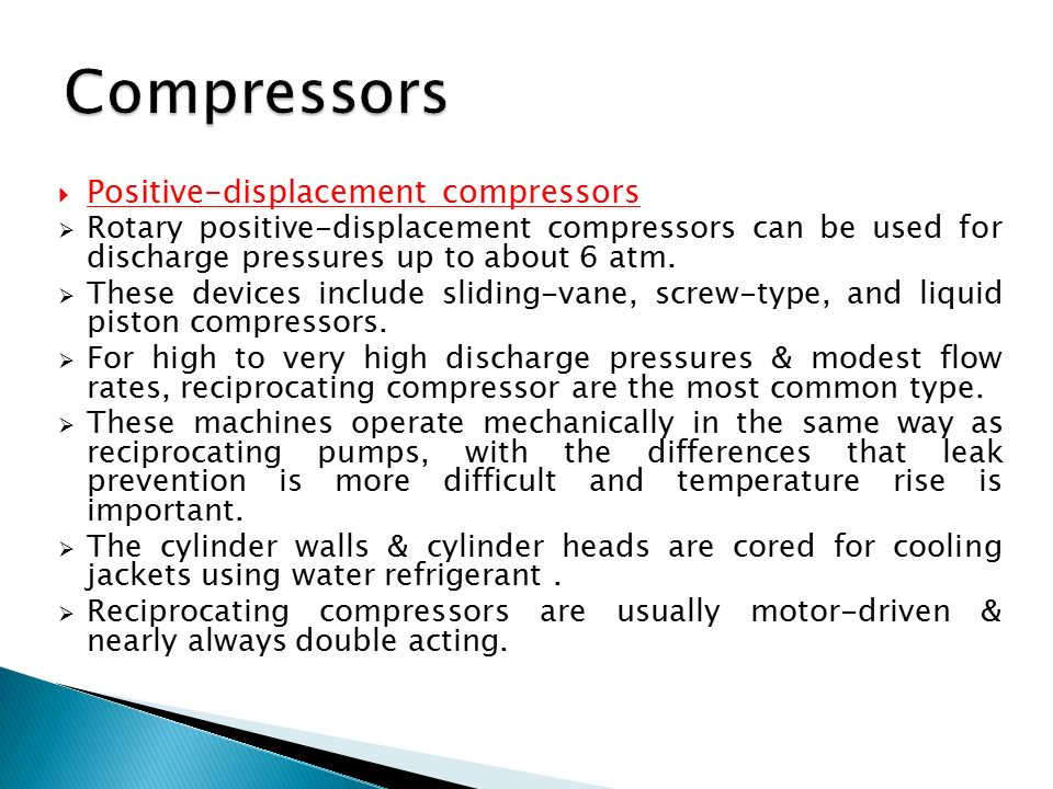 Compressors Positive-displacement compressors