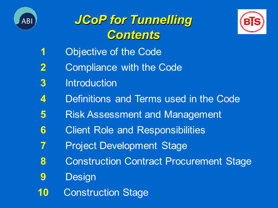 JCoP for Tunnelling Contents
