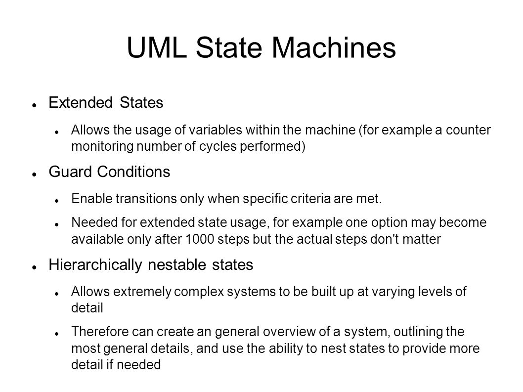 UML State Machines Extended States Guard Conditions
