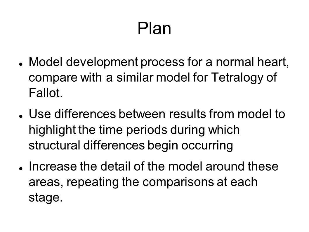 Plan Model development process for a normal heart, compare with a similar model for Tetralogy of Fallot.
