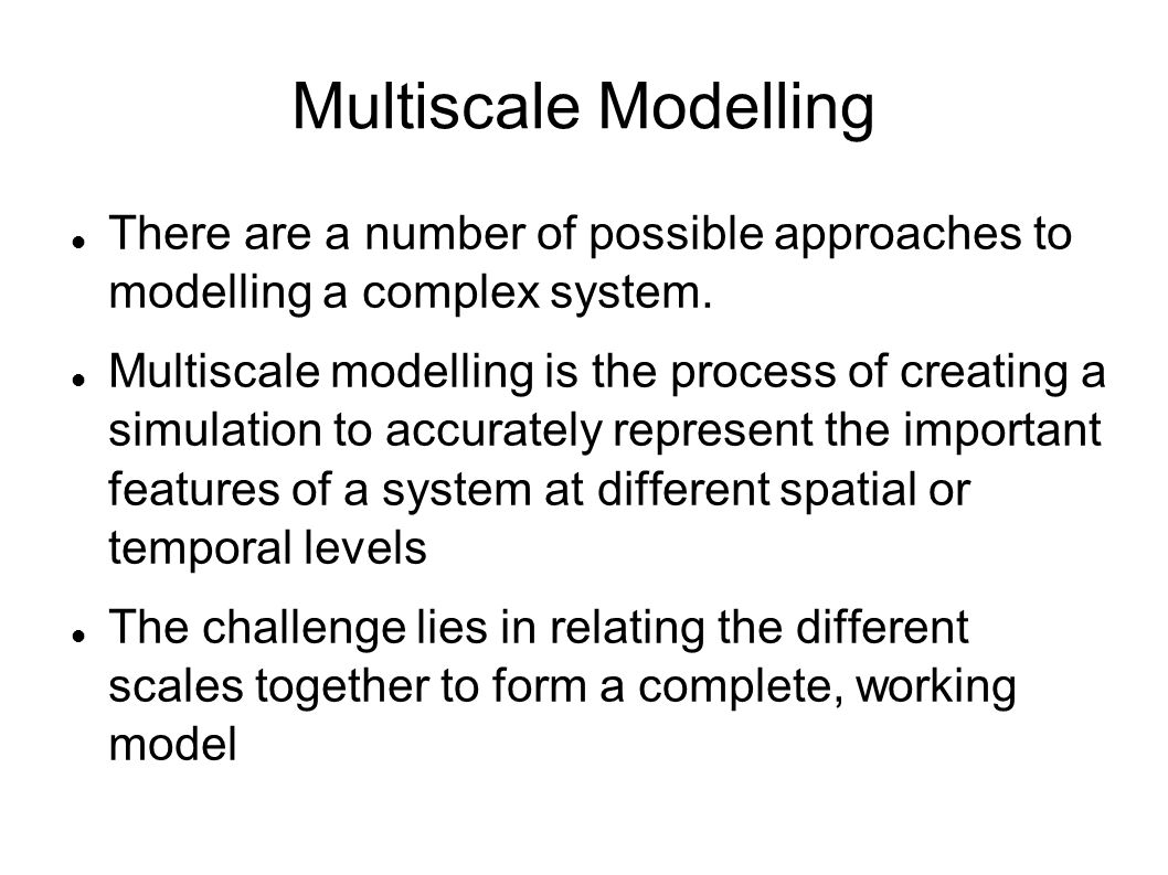 Multiscale Modelling There are a number of possible approaches to modelling a complex system.