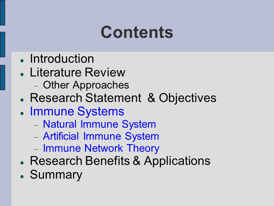 Contents Introduction Literature Review