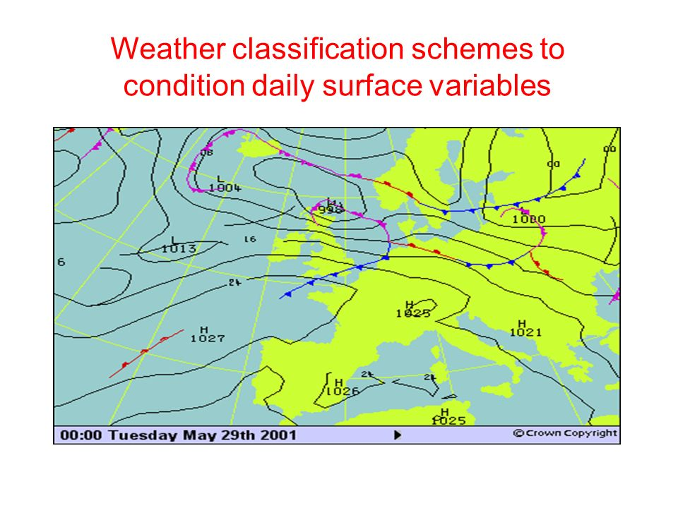 Weather classification schemes to condition daily surface variables