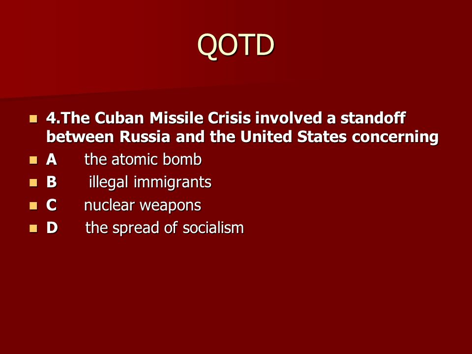 Cold War: Cuban Missile Crisis to Detente
