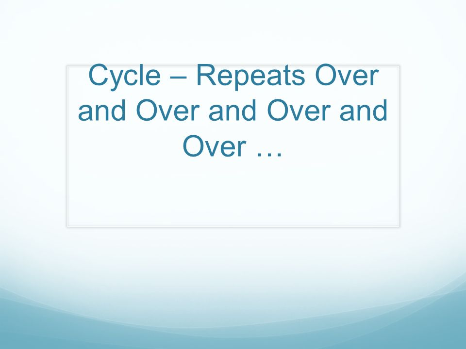 Cycle – Repeats Over and Over and Over and Over …