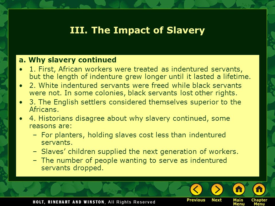 the effects of the revival of the indentured servitude The role of indentured servitude in the history of the united states of america.