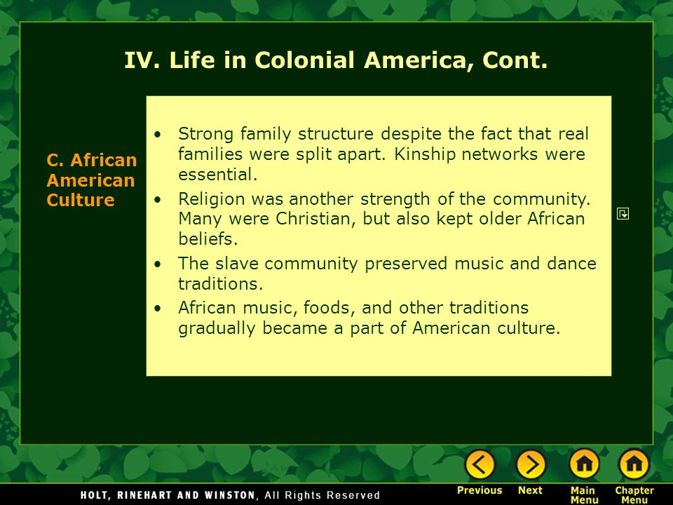 the life of the african descendants in colonial latin america Library of congress of africans and their descendants to bear on the business of everyday life in african america, however long.