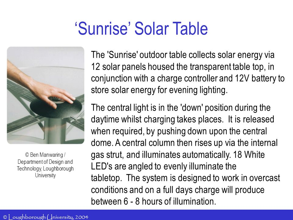 'Sunrise' Solar Table