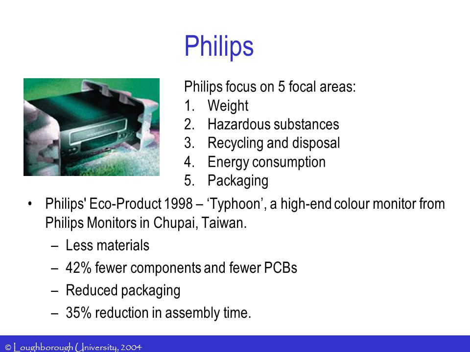Philips Philips focus on 5 focal areas: Weight Hazardous substances