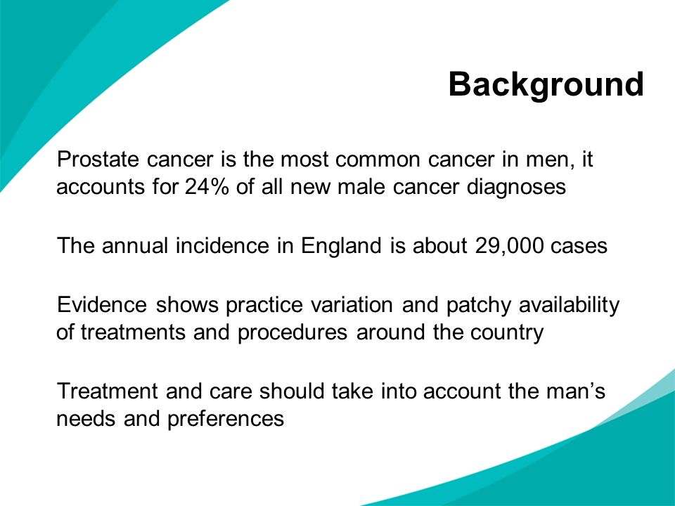 Background Prostate cancer is the most common cancer in men, it accounts for 24% of all new male cancer diagnoses.