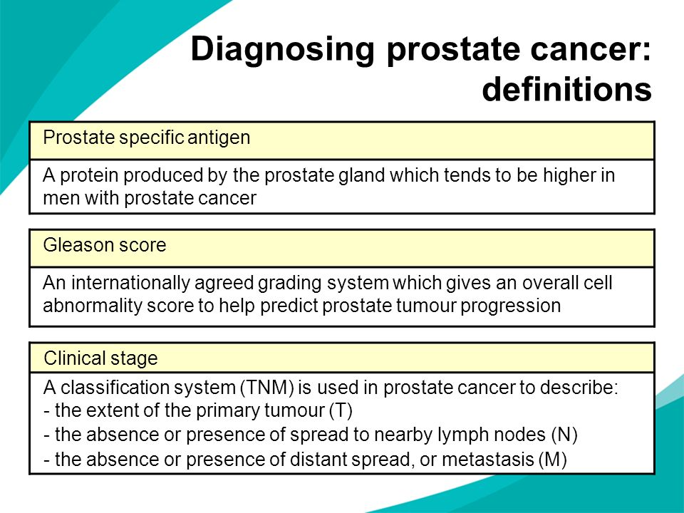 Diagnosing prostate cancer: definitions