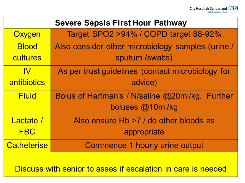 Severe Sepsis First Hour Pathway