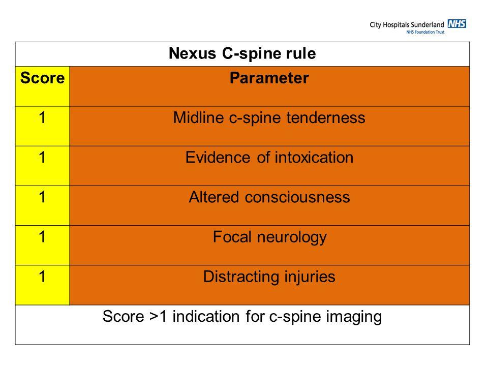 Nexus C-spine rule Score Parameter