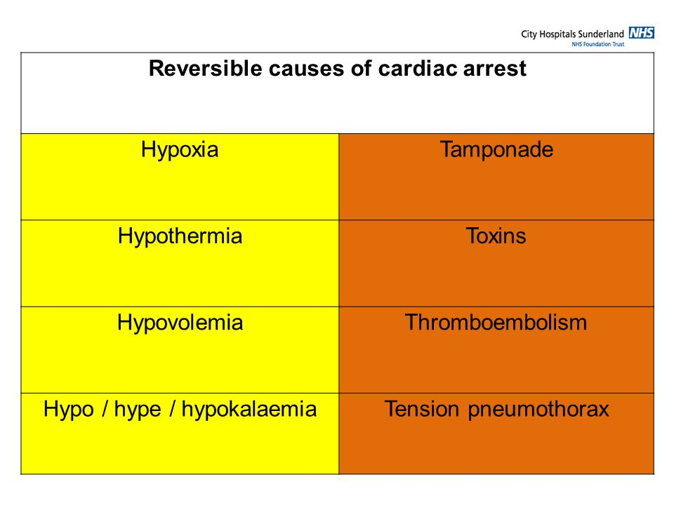 Reversible causes of cardiac arrest