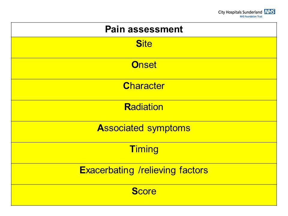 Exacerbating /relieving factors