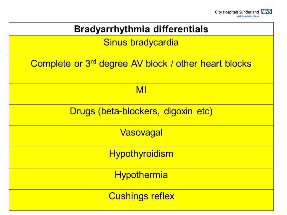 Bradyarrhythmia differentials