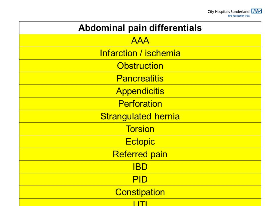 Abdominal pain differentials