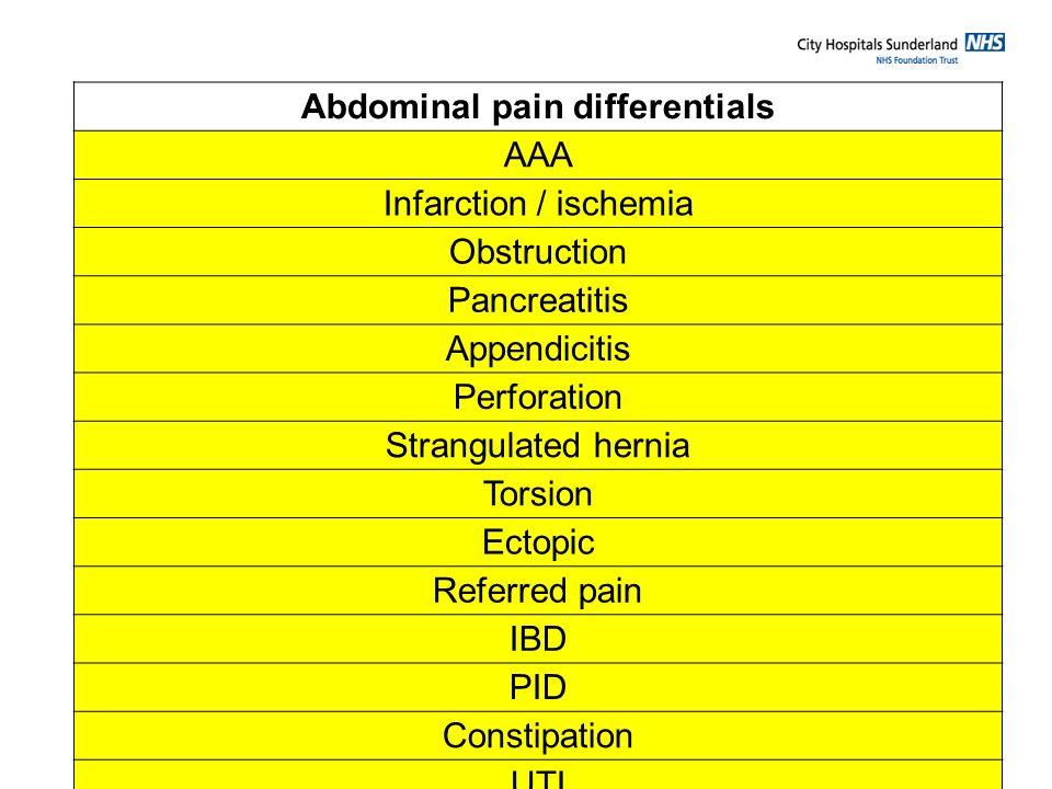 Abdominal pain differentials