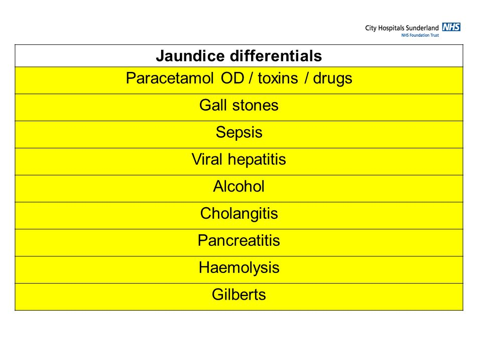 Jaundice differentials