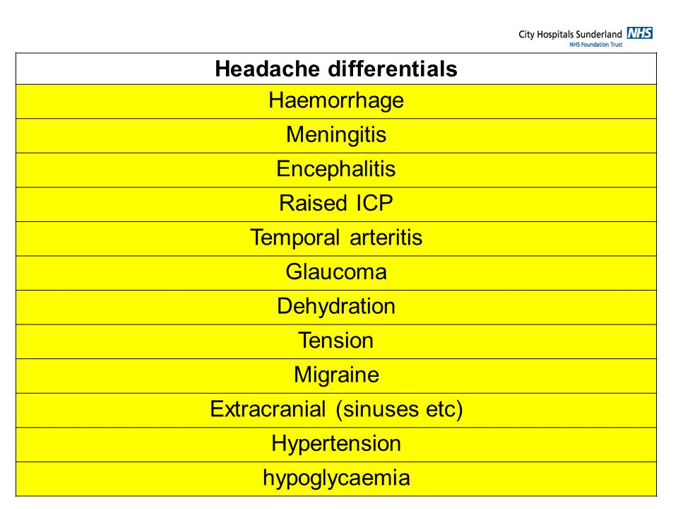 Headache differentials