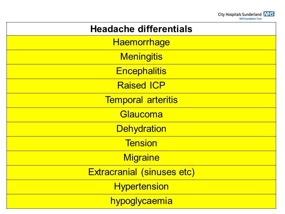 Headache differentials