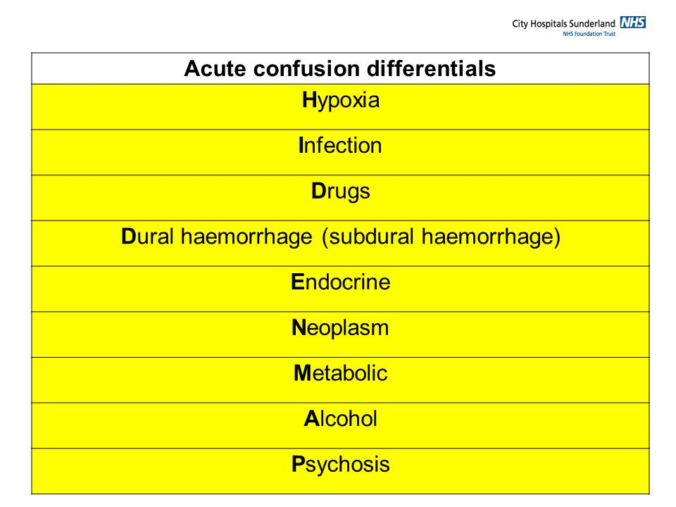 Acute confusion differentials
