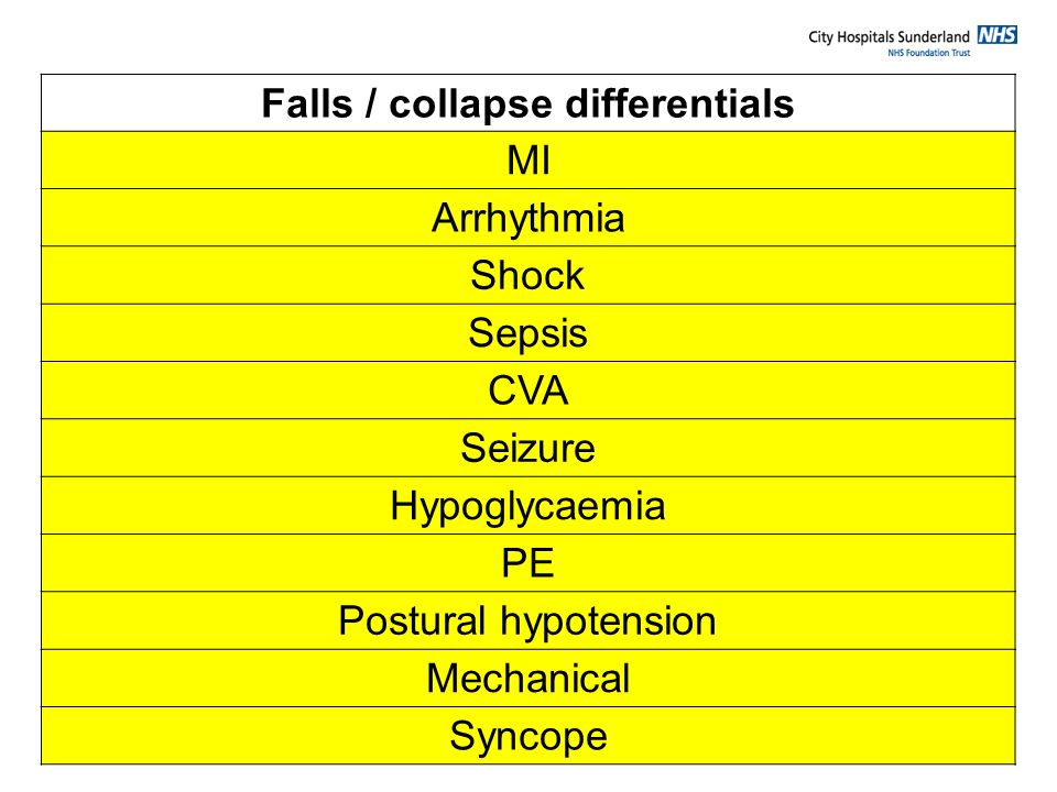 Falls / collapse differentials