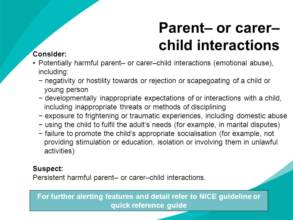 Parent– or carer– child interactions