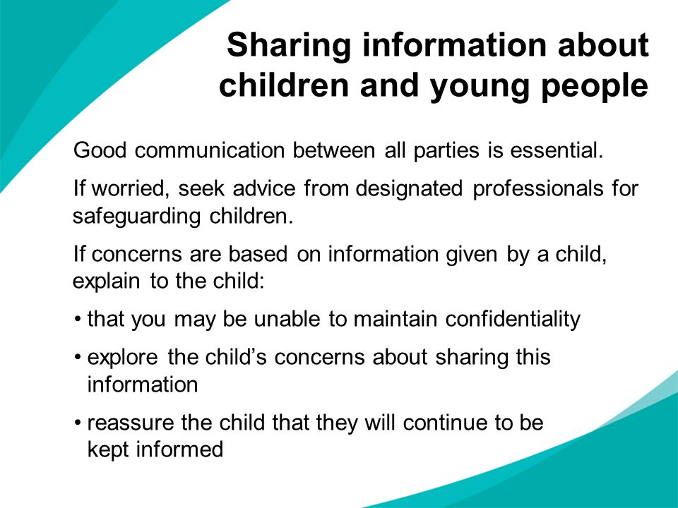 Sharing information about children and young people