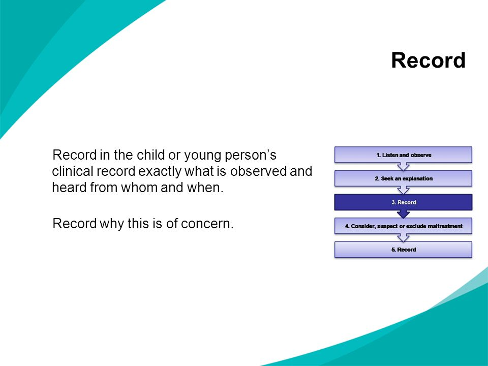 Record Record in the child or young person's clinical record exactly what is observed and heard from whom and when.