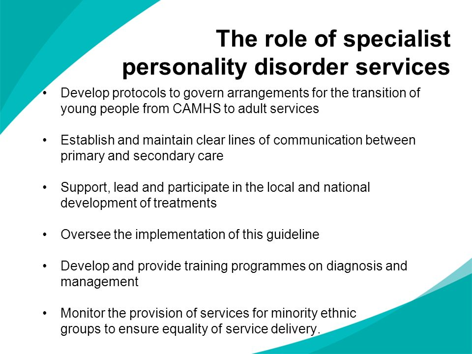 The role of specialist personality disorder services