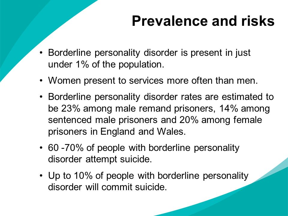 Prevalence and risks Borderline personality disorder is present in just under 1% of the population.