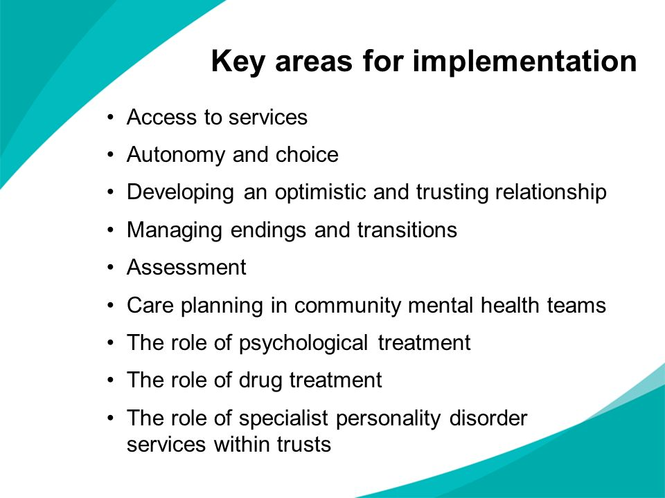 Key areas for implementation