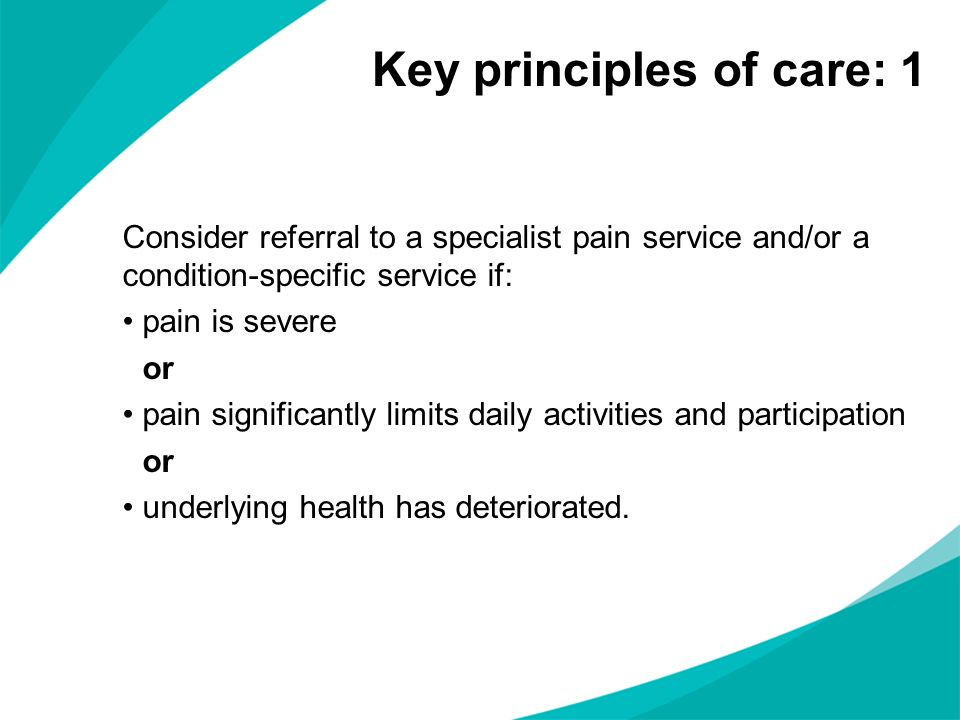 Key principles of care: 1