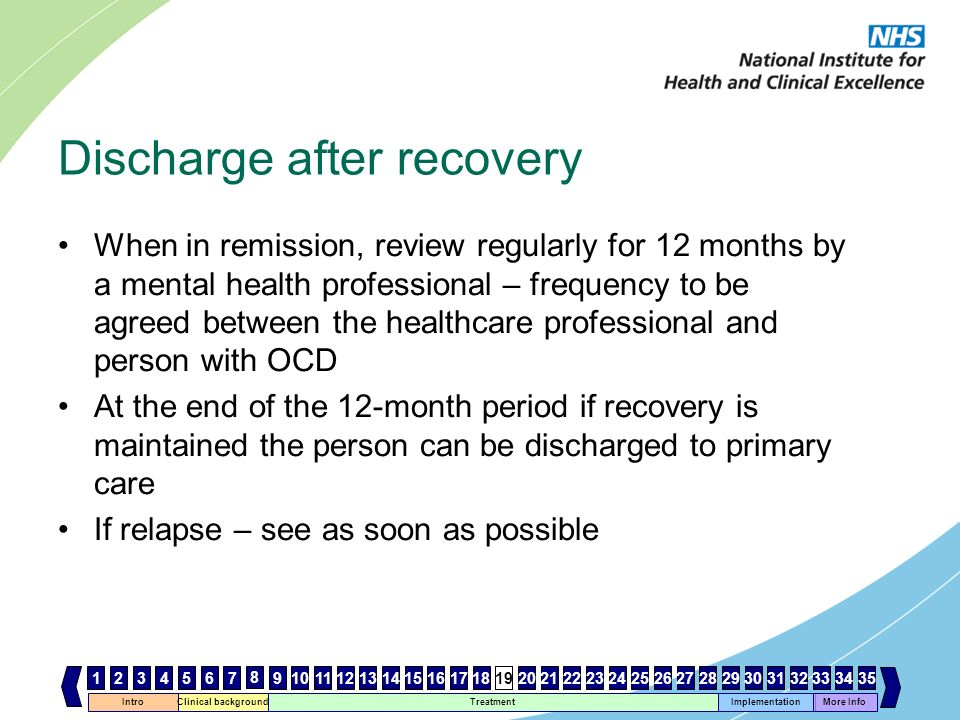 Discharge after recovery