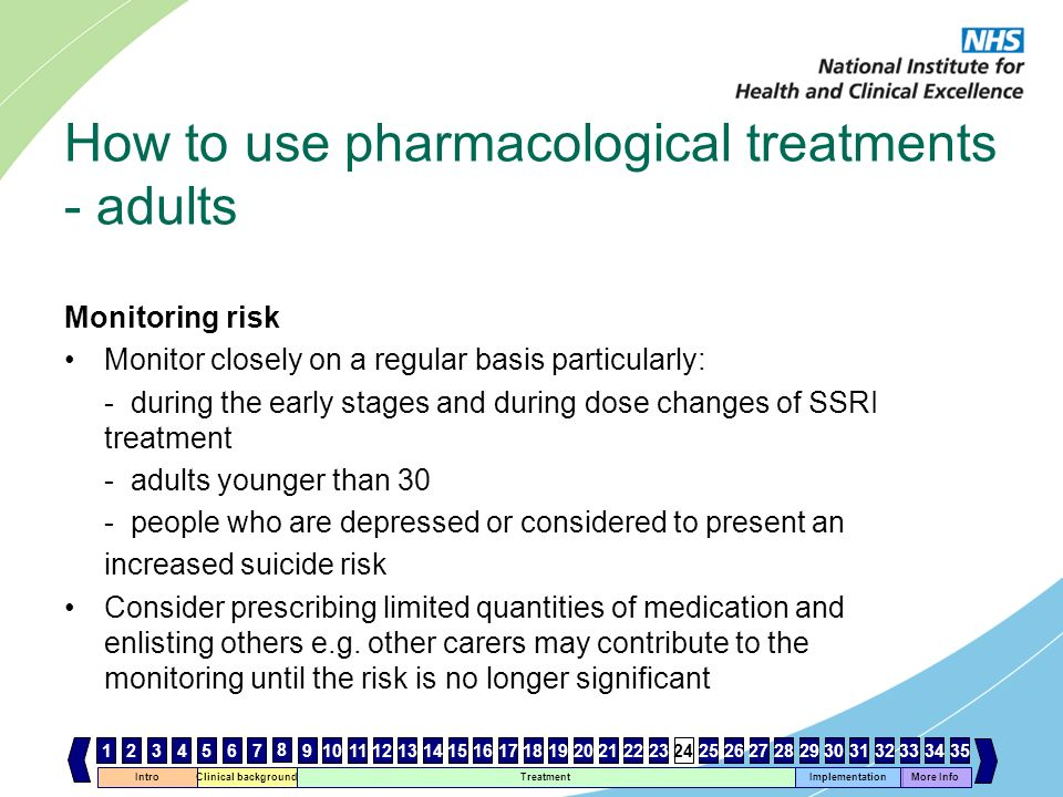How to use pharmacological treatments - adults