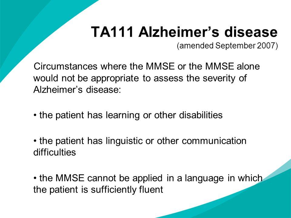 TA111 Alzheimer's disease (amended September 2007)