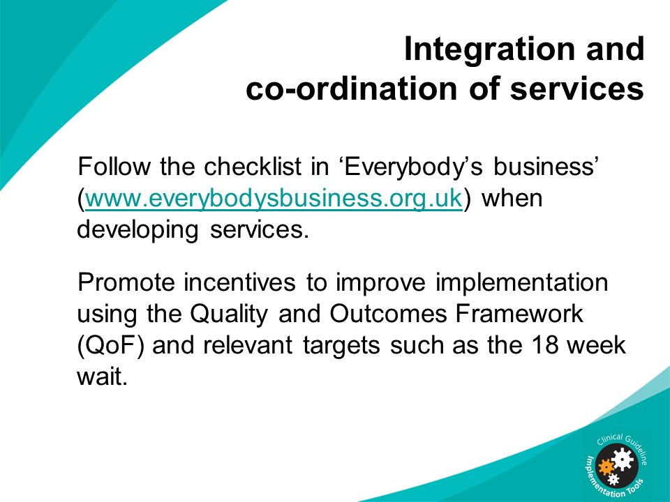 Integration and co-ordination of services