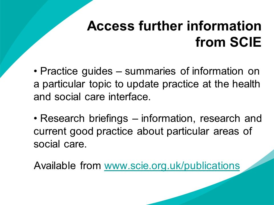 Access further information from SCIE