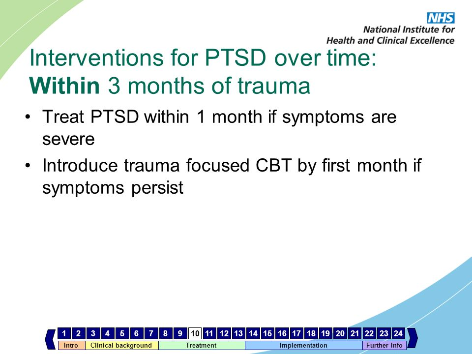 Interventions for PTSD over time: Within 3 months of trauma