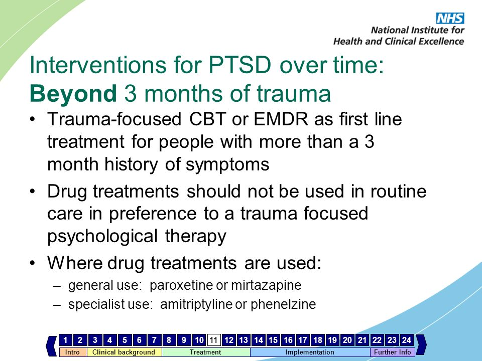 Interventions for PTSD over time: Beyond 3 months of trauma