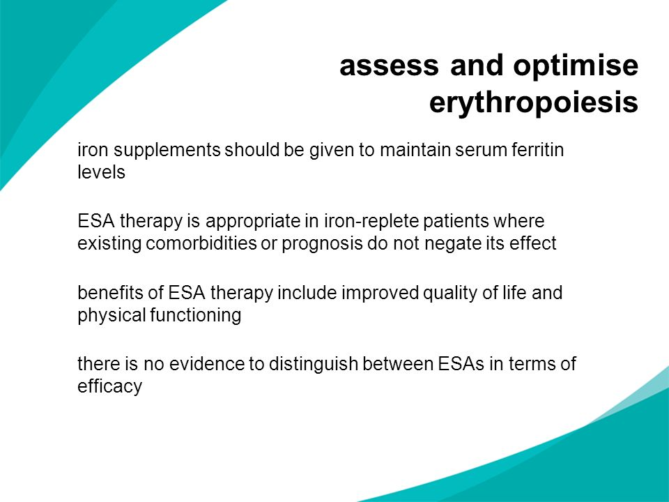 assess and optimise erythropoiesis