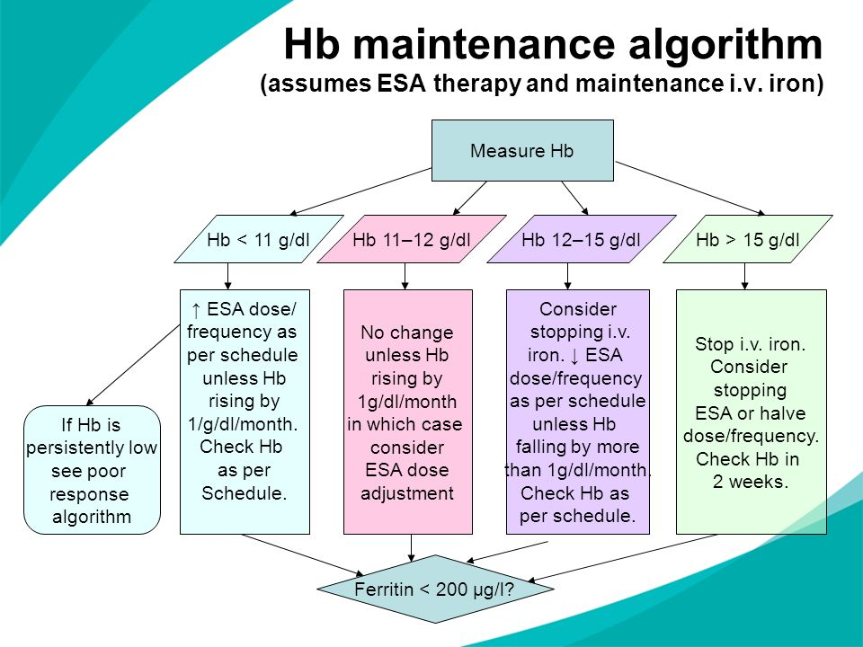 Hb maintenance algorithm (assumes ESA therapy and maintenance i. v